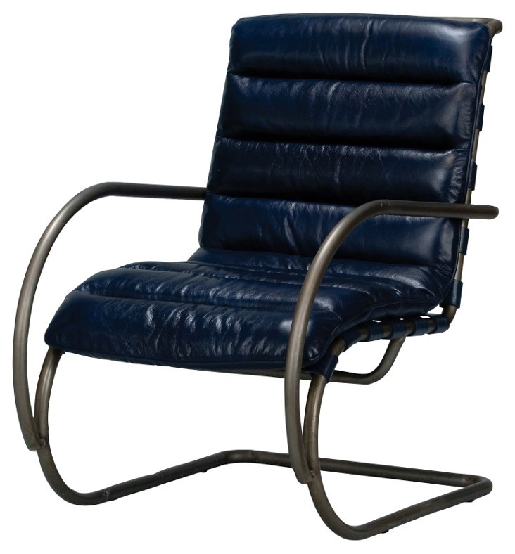 Reilly Leather Occasional Chair, Navy