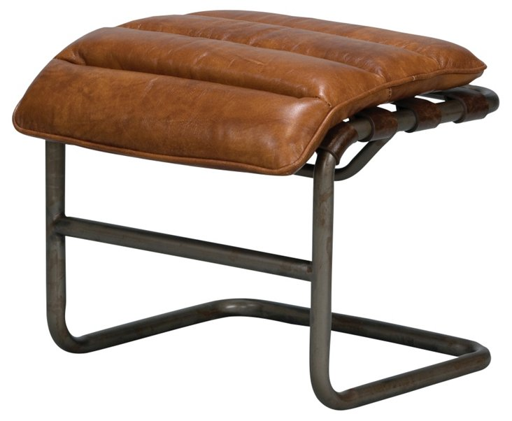 Mercer Channeled Leather Ottoman, Toffee
