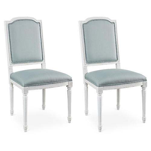S/2 Aida Side Chairs, Stucco/Spa