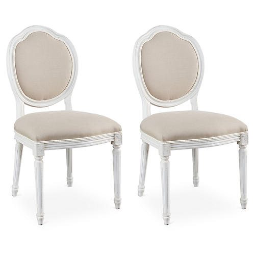 Flax Linen Louis Side Chairs, Pair