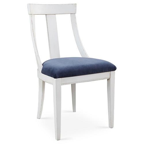 Deco Side Chair, Navy Velvet