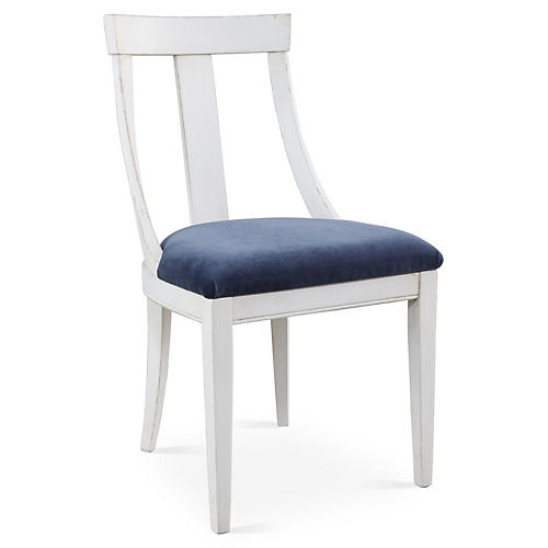 Deco Side Chair, Navy Velvet