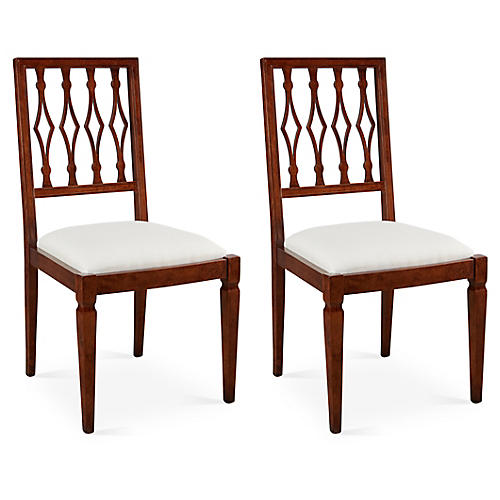 Off-White Linen Avice Side Chairs, Pair