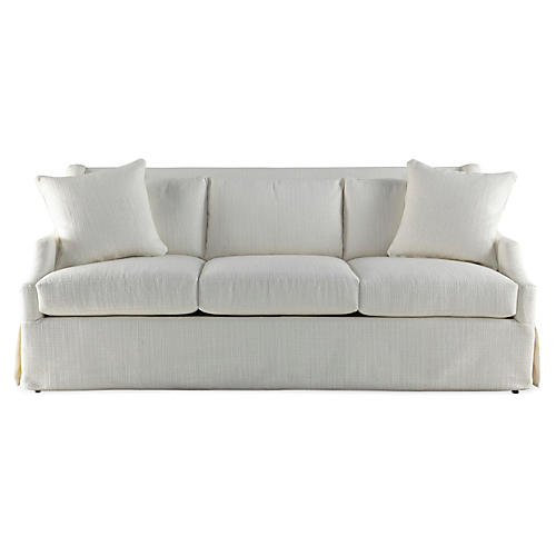 "Riviera 83"" Skirted Sofa, Cream"