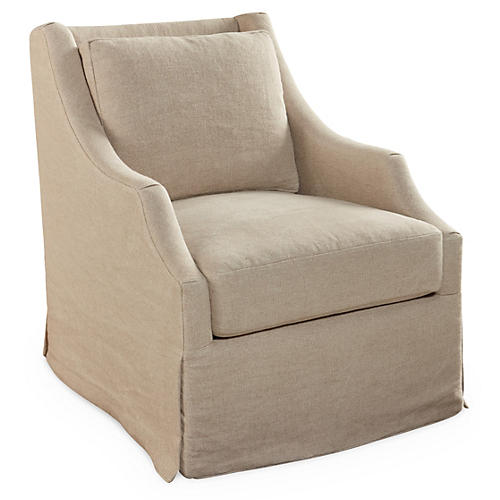 Riviera Swivel Chair, Flax Linen