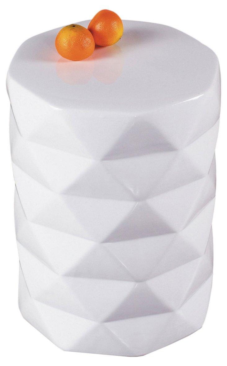 Ceramic Stool, White