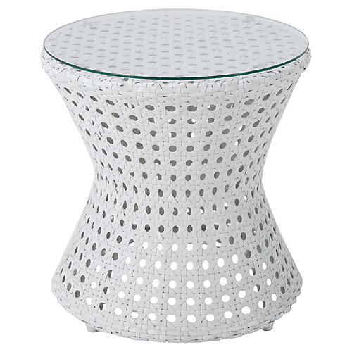 Coco Wicker Side Table, White