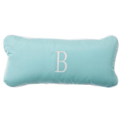 Coco Monogram Outdoor Pillow, Glacier