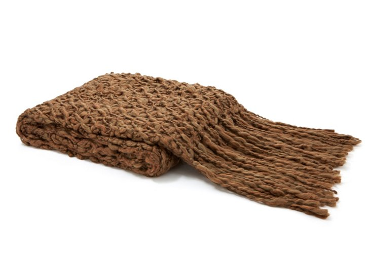 Handspun Wool Throw, Brown