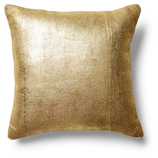Flash 22x22 Wool-Blended Pillow, Gold