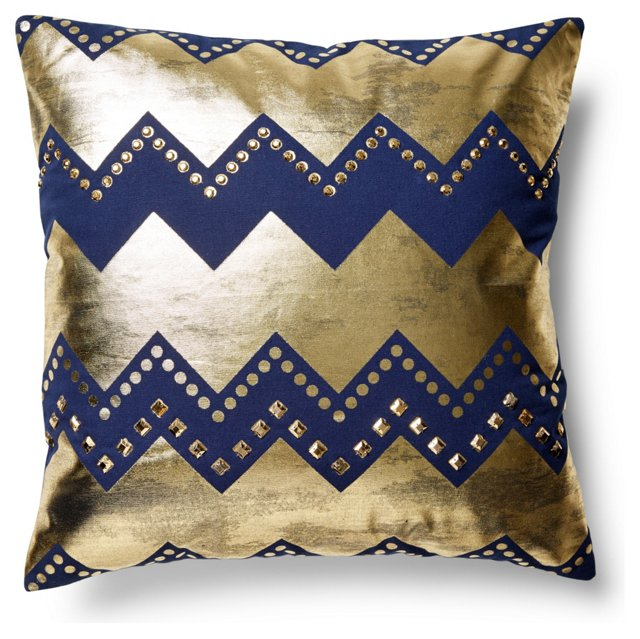 Brassy 20x20 Wool-Blended Pillow, Navy