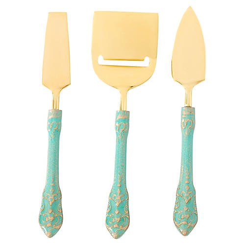 3-Pc Antico Cheese Knife Set, Turquoise