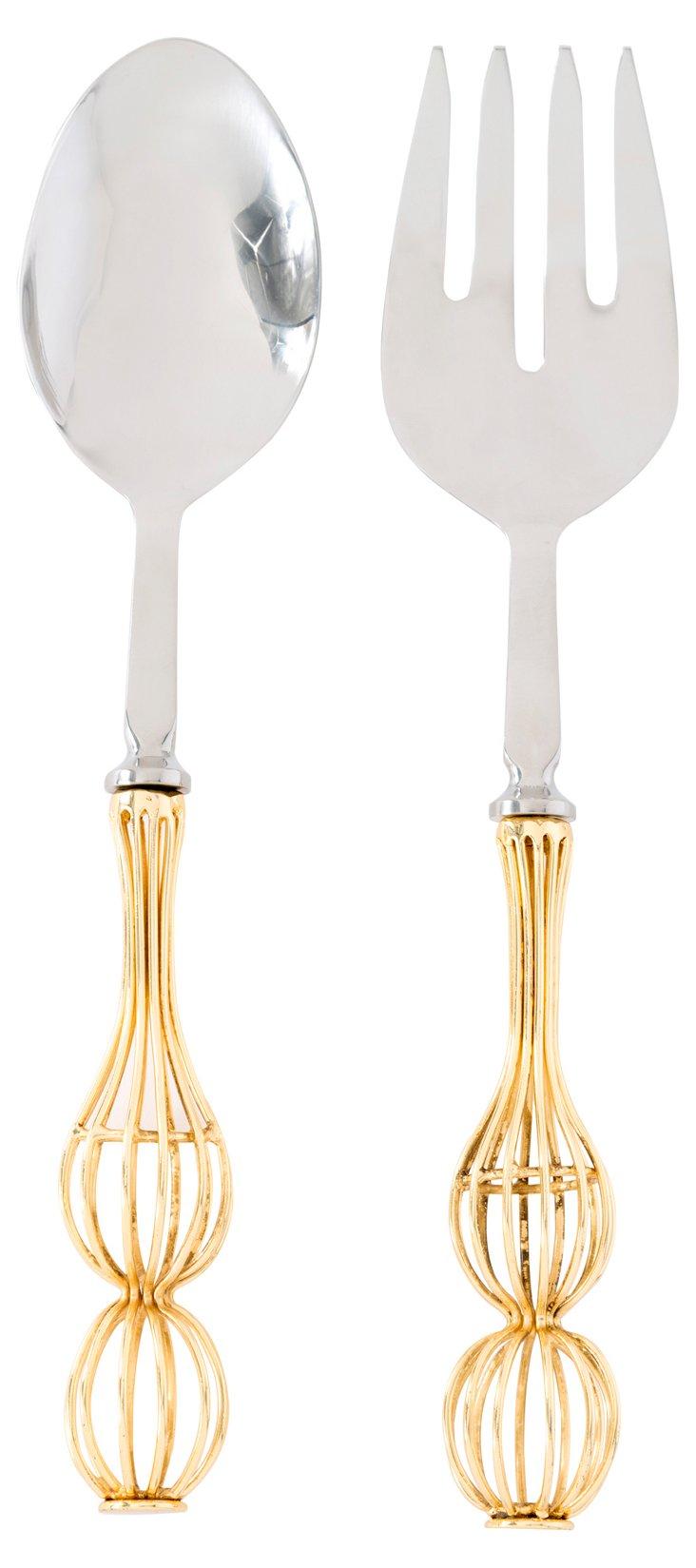 Corsetto Salad Servers, Gold