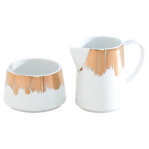 Aurora Sugar Bowl & Creamer