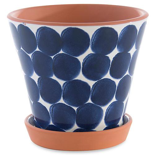 """9"""" Lizbeth Outdoor Flower Pot, Blue"""