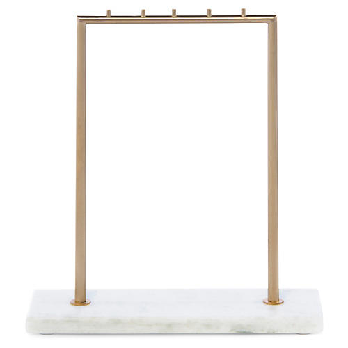 Covent Jewelry Stand, Brass/White