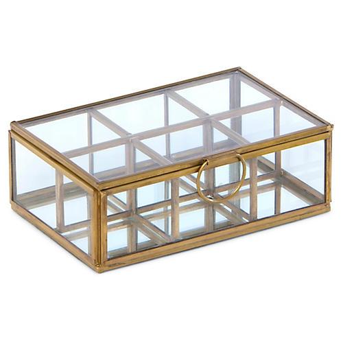 "6"" Newton 6-Compartment Box, Brass/Clear"