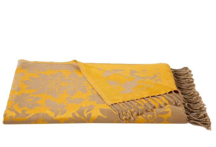 Damask Throw, Mustard/Taupe