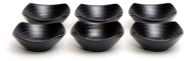 S/6 Black Rice Square Fruit Bowls