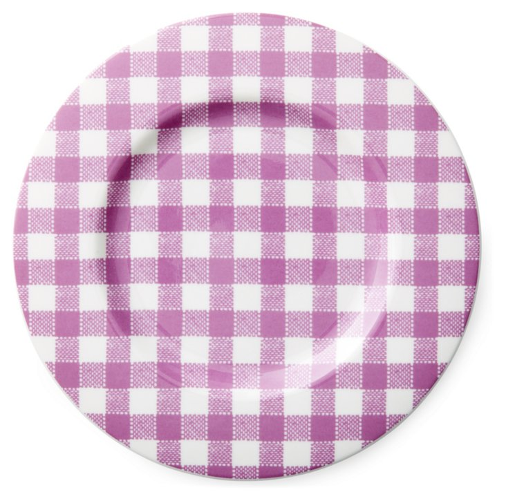 S/4 Checkered Salad Plates, Violet