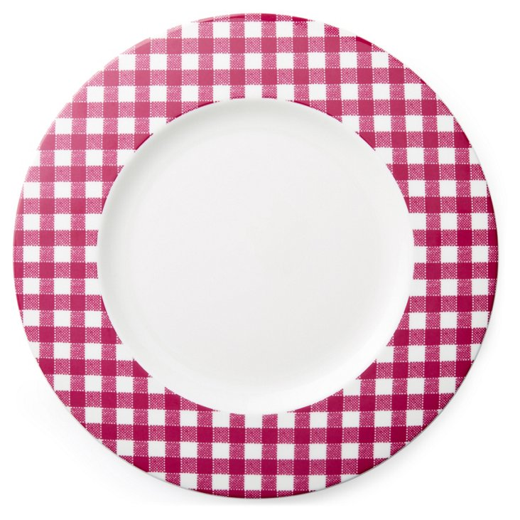 S/4 Checkered Dinner Plates, Purple