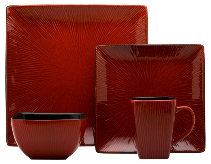 16-Pc Crimson Red Dinner Set