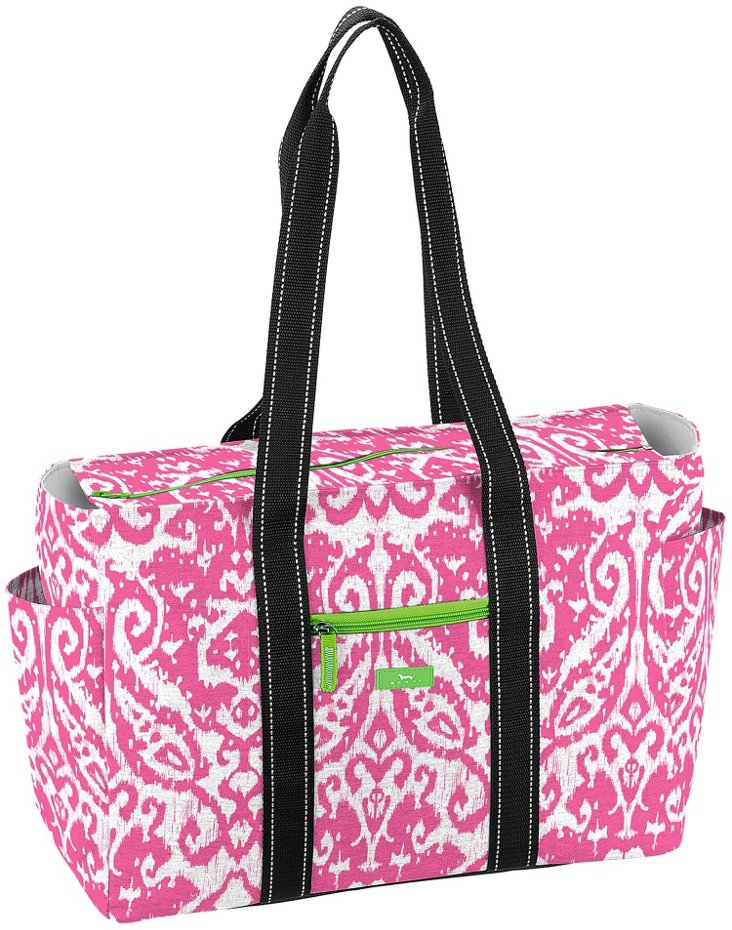Zippered Tote, Pink/Green