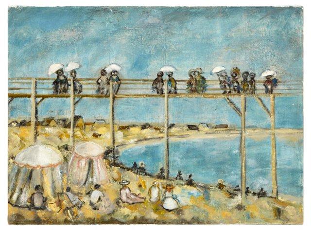 Oil Painting, Beach at Sainte-Adresse