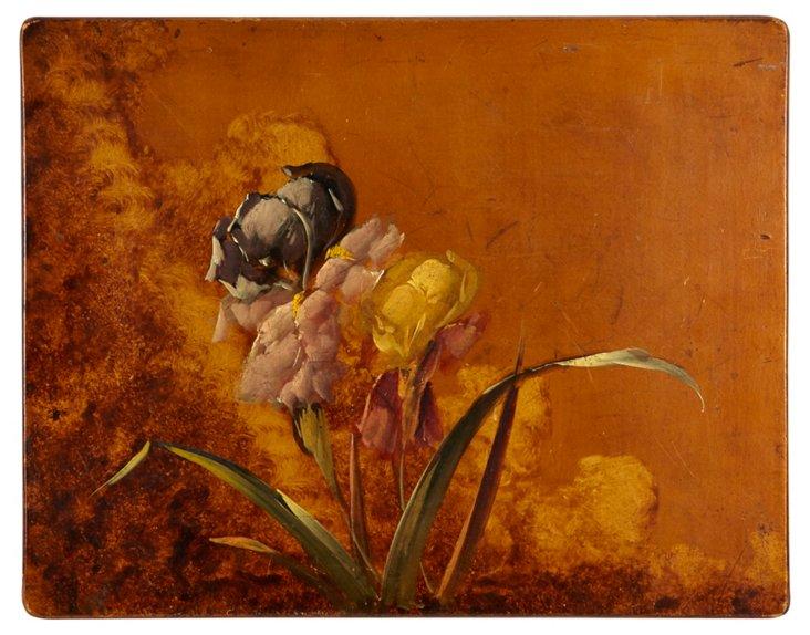 Iris on Coppery Panel