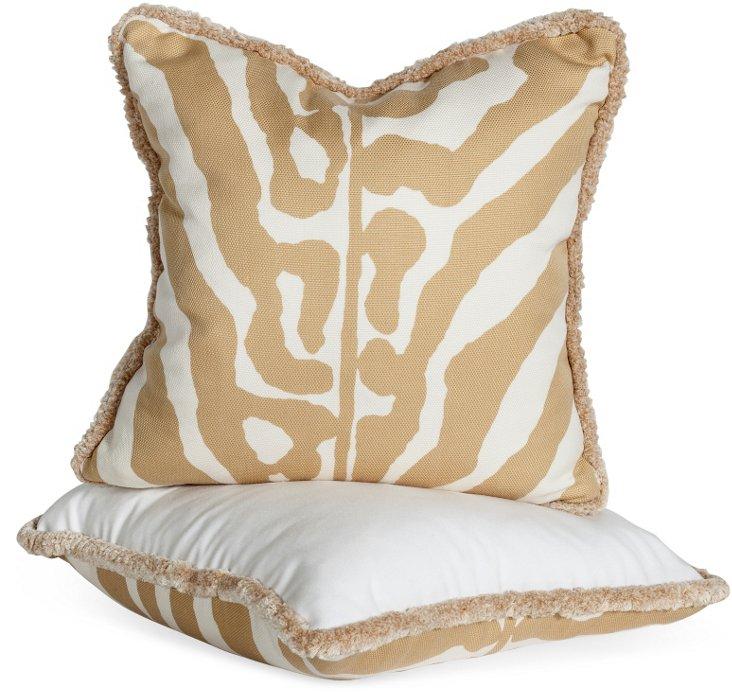 Zebra Print Pillows, Pair