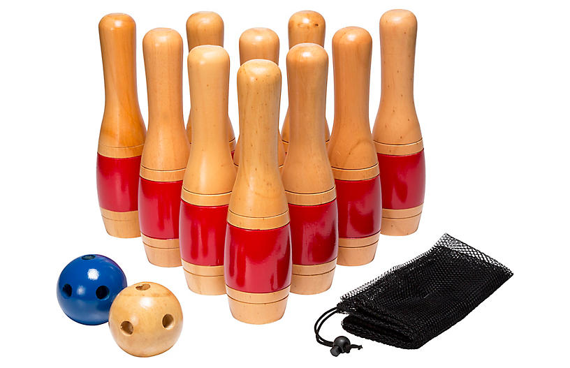 "11"" Wooden Bowling Set by One Kings Lane"