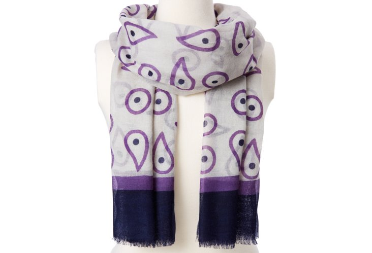 Evil Eye Print Scarf, Purple