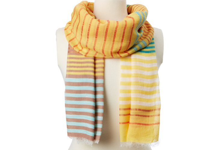 Multi-Stripe Scarf, Yellow