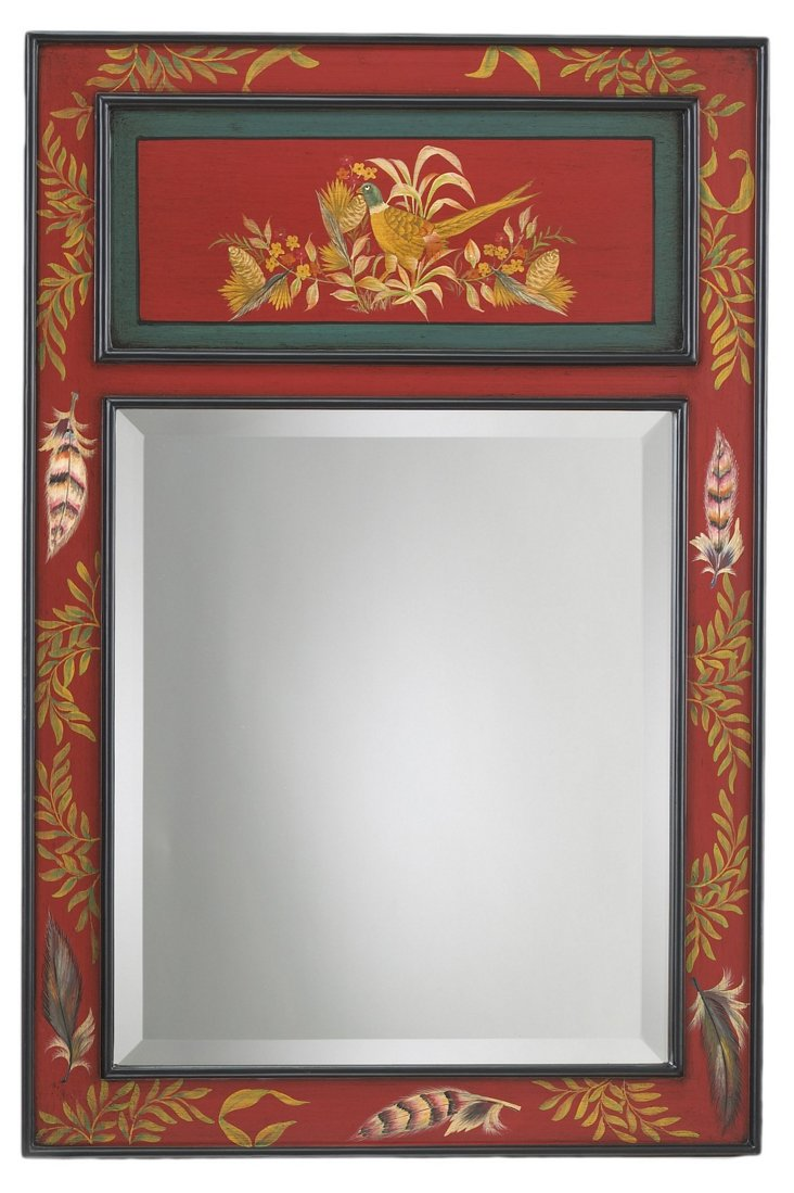 Game Birds Wall Mirror, Red