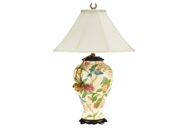 Flora & Birds Porcelain Lamp