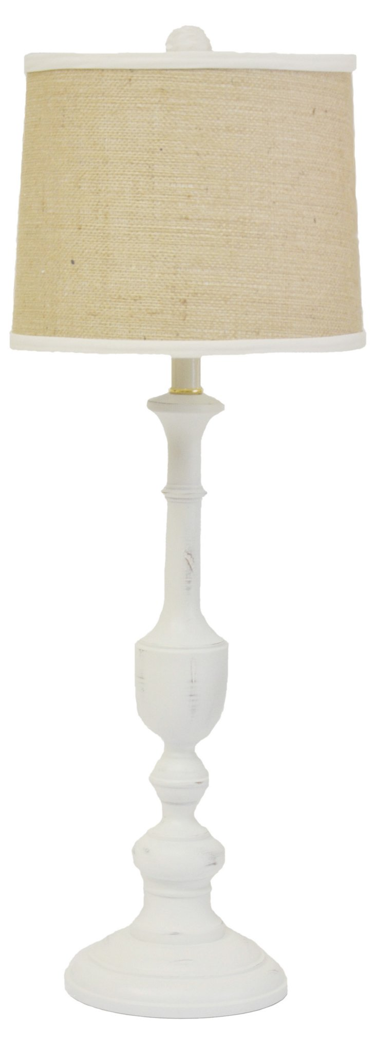 Cooper Candlestick Lamp, Kitty White