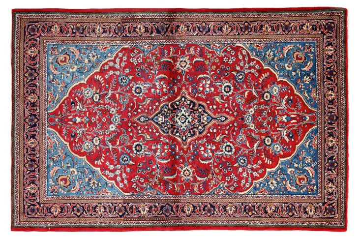 "4'6""x7' Dicle Flat-Weave Rug, Blue/Red"