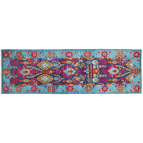 "2'8""x8'4"" Suzani Runner, Blue"