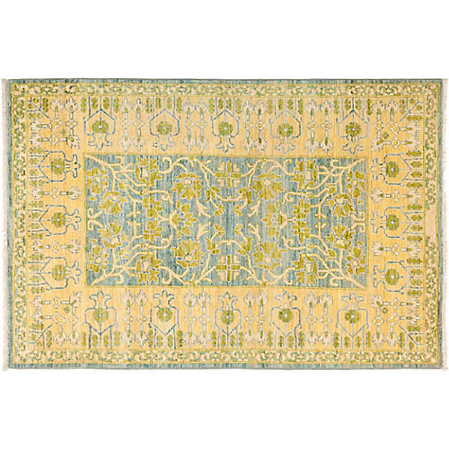 "4'1""x6'2"" Eclectic Rug, Yellow"