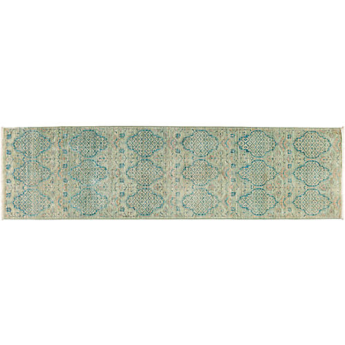 "2'8""x9'10"" Eclectic Runner, Multi/Green"