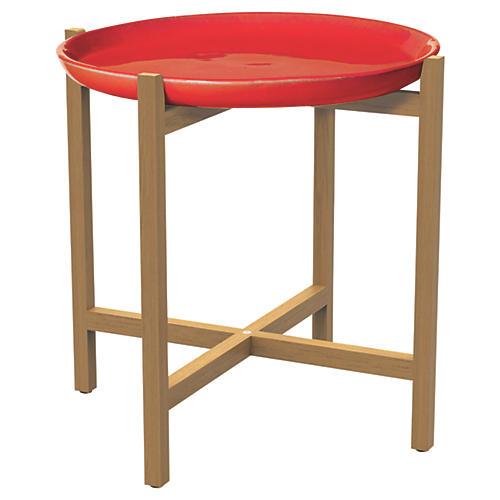 Azar Ceramic/Teak Side Table, Crimson