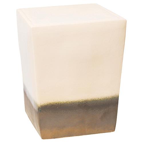 Tacitus Square Cube Stool, Cream