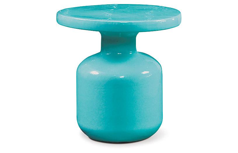 Bottle Outdoor Side Table, Aqua Marine