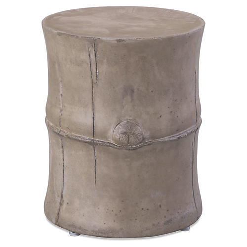 Bamboo Concrete Side Table, Gray