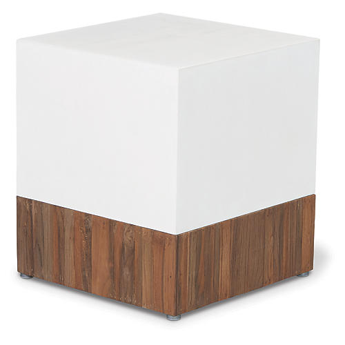 Magic Cube Concrete Stool, White