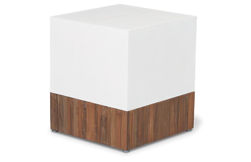 Magic Cube Concrete Stool, White