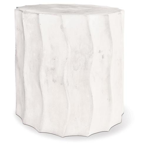 Wave Short Concrete Side Table, Pearl