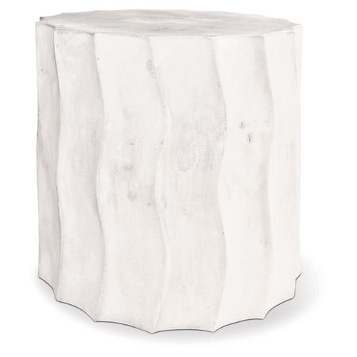 Wave Short Concrete Side Table, Pearl