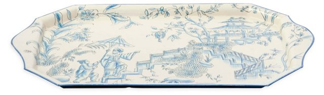 Metal Tray, Blue Toile