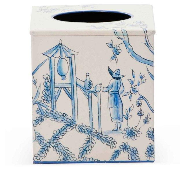 Tissue Box, Blue Toile